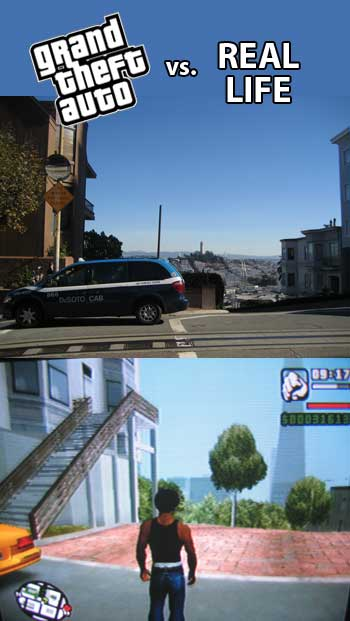 GTA and 'real life' pictures of the same intersection in San Francisco