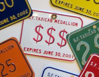 San Francisco taxi medallion with dollar signs instead of a number