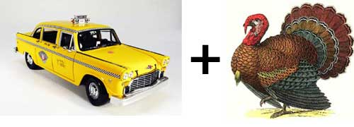 A turkey and a taxi