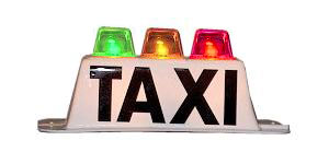 Taxi top light with 3 colored lights - red, yellow, green