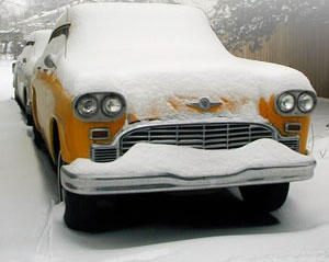old school cab in the snow