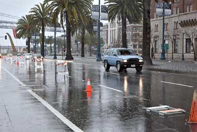 Embarcadero during Friday's storm