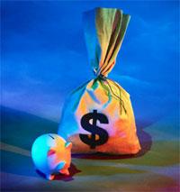 Money bag and piggy bank