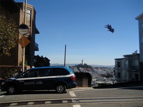San Francisco Taxi with Photoshopped Blue Angels in Sky